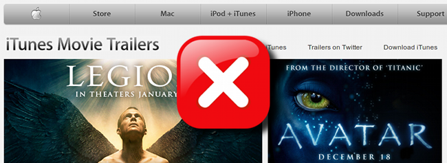Apple Trailers doesn't want us.  :(