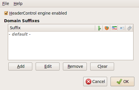 HeaderControl Options dialog.