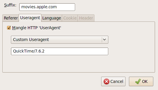"Make sure the suffix is ""movies.apple.com"" and that you have the user agent correct."