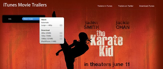 Screen capture of iTunes Movie Trailers download page for the new Karate Kid