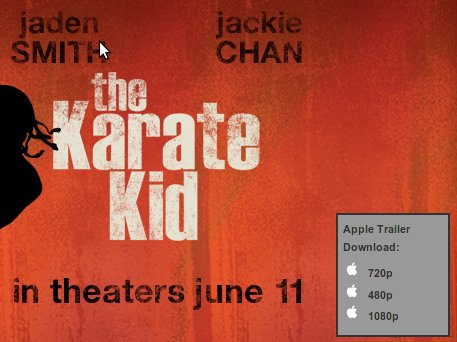 Download links for the Karate Kid trailer